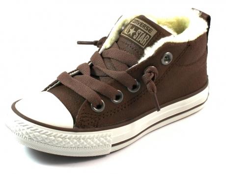 Converse All Stars leren sneaker Street Mid Bruin CON17