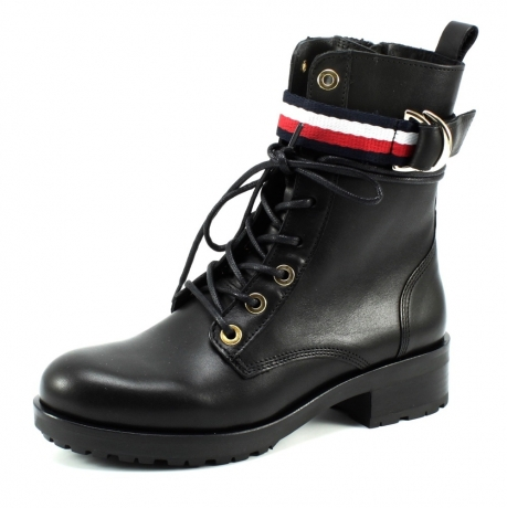 Tommy Hilfiger TH Ribbon bikerboot Zwart TOM12