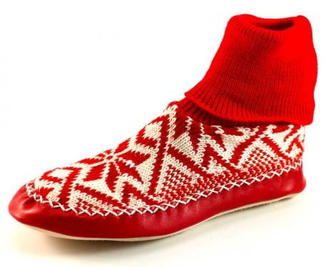 Litha gebreide pantoffels Rood LIT04