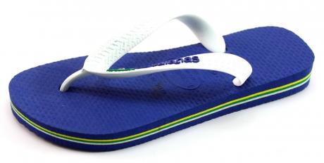 Image of Havaianas Slippers Kids Brasil Logo Blauw Hav50