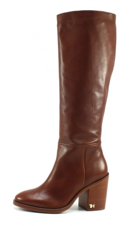 Tommy Hilfiger Mono color longboot Cognac TOM13