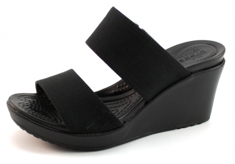 Crocs Leigh 2 Nombre De Sandales Compensées Sangle Noir Cro09 ZkoMU